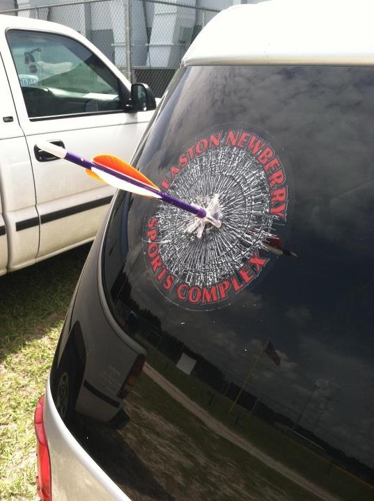 Clever archery window decal, available from Easton Newberry Sports Complex