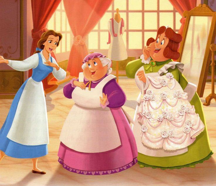 belle with human mrs potts and madam grande lebush