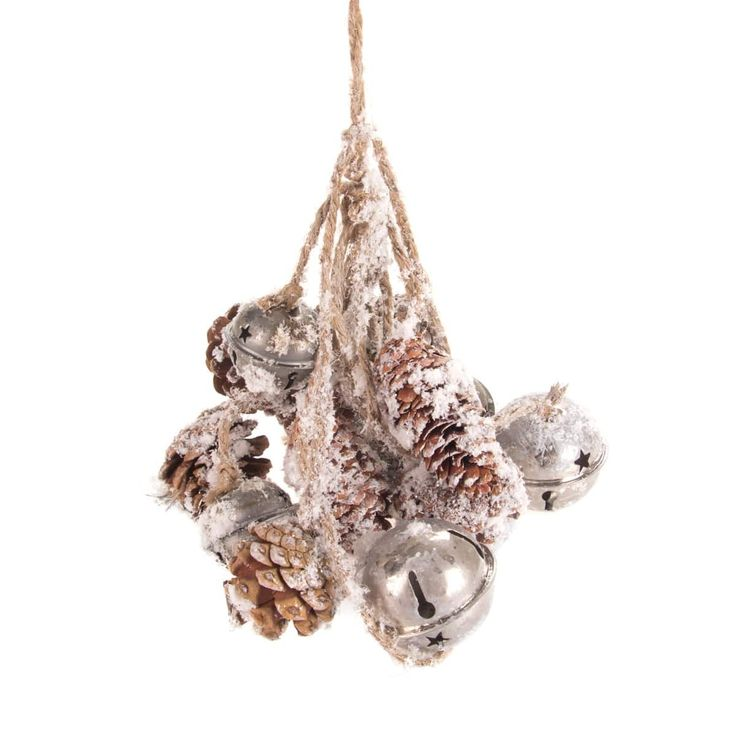 Very decorative bunch of pine cones and bells on jute rope, with a snowcoating. The bunch is 28 cm long and made with natural materials, therefore every copy is unique.