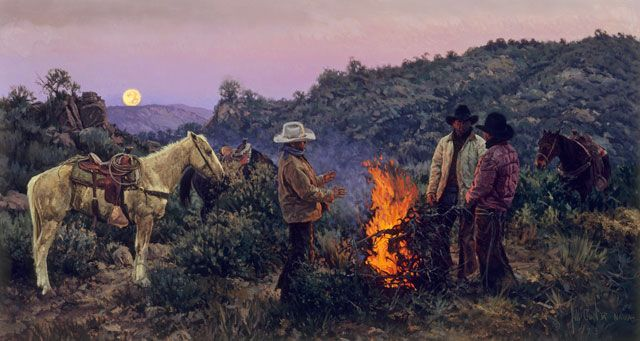 """""""The cowboy who works the rough brushy country in search of wild cattle is sometimes referred to as a brush hand. Often starting out hours before daybreak to reach an area they want to work, these cowboys (Ben Overson, Clay Tyree and Gary Halford) have built a fire against the pre-dawn chill and are quietly discussing the day before them,"""" states Bill Owen."""