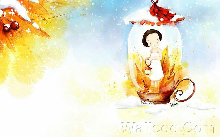 Kim Jong Bok Illustrations(Vol.03) - Cartoon Cute Fairy Girl  - Art Illustration : Cute little girl in a Fairy Lamp 4