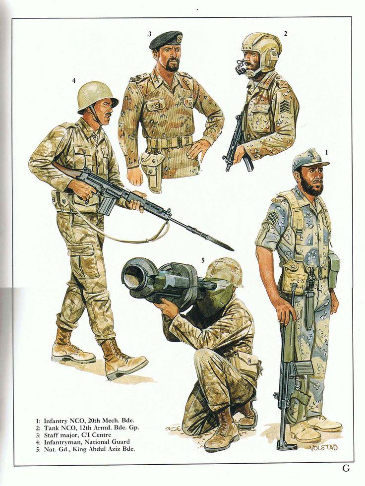 Gulf War - Saudi Arabian Army:  1: Infantry NCO, 20th Mech. Bde.;  2: Senior Tank NCO, 12th Khalid-bin-Waleed Armd. Bde. Gp.;  3: Major, Coalition Co-ordination Communication Integration Joint Staff;  4: Infantryman, National Guard;  5: National Guardsman, King Abdul Aziz Bde.
