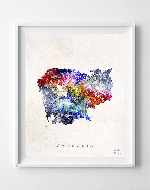 Cambodia Map Asia Print Phnom Penh Watercolor Home by InkistPrints