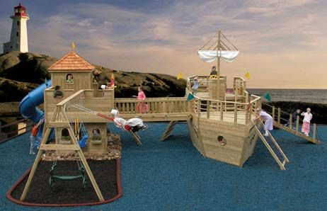 Fun looking Youngster's Yacht from Play Mor Swing Sets  http://www.yutzysfarmmarket.com/images/swingsets/wooden-castle-swingsets/happy-landing-harbor-castle.jpg