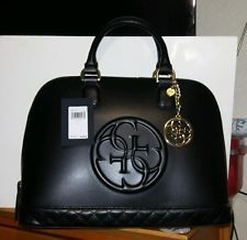 GUESS AMY QUATTRO Large Dome Satchel Tote Bag Black NWT