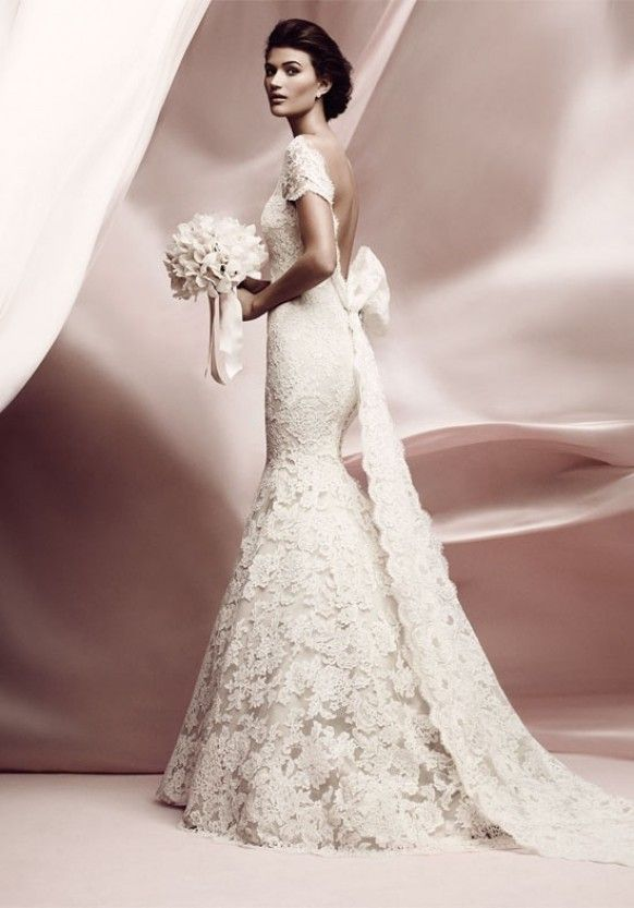 Ivory French lace mermaid backless chapel train wedding dress with back bow and cap sleeves. Stylish lace low-cut back wedding dress. Lissome by Ines Di Santo lace bow backless vintage romantic