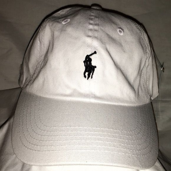 Polo All White Dad Hat Black Horse Strapback Polo All White Dad Hat Black Horse Strapback Polo by Ralph Lauren Accessories Hats
