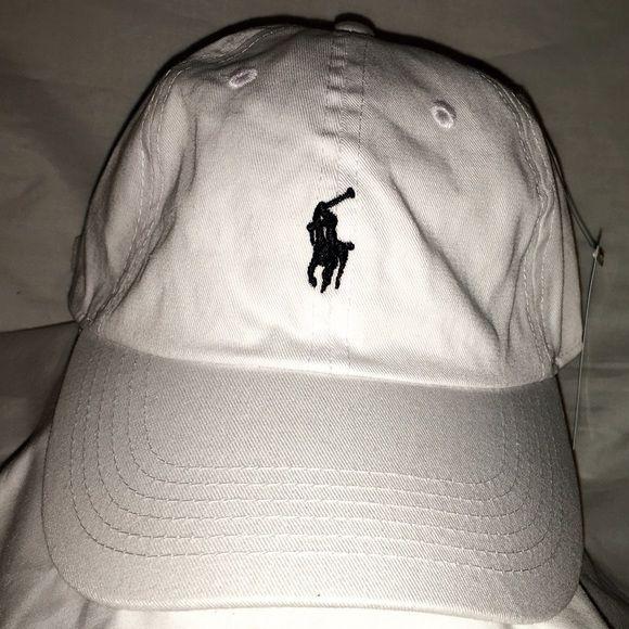 Polo All White Dad Hat Black Horse Strapback Polo All White Dad Hat Black Horse Strapback Polo by Ralph Lauren Accessories Hats