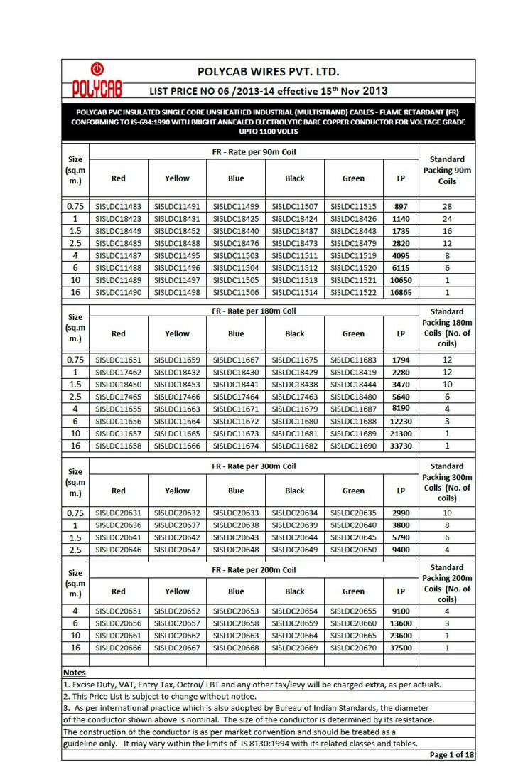 Polycab Cables Amp Wires Price Chart List Available