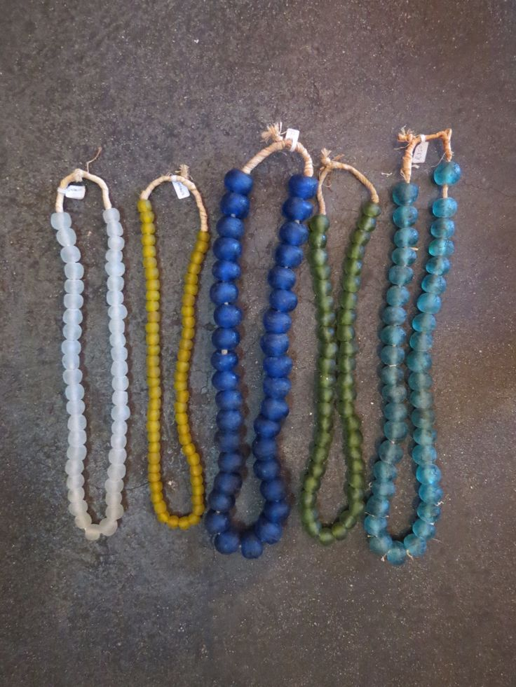 Glass bead necklaces from Ghana at Kim Sacks Gallery Johannesburg