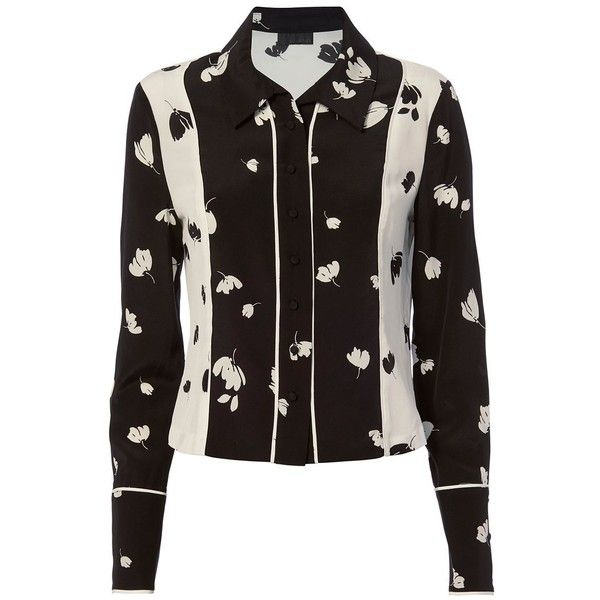 Intermix Women's Liya Print Blouse ($99) ❤ liked on Polyvore featuring tops, blouses, silk print blouse, collar blouse, pattern blouses, silk blouse and long sleeve silk blouse