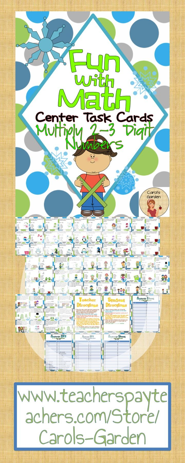 #Math #center #taskcards for two and three digit #multiplication: #Differentiate your instruction with 72 two to three digit math task cards for your math center rotations included with this pack. $