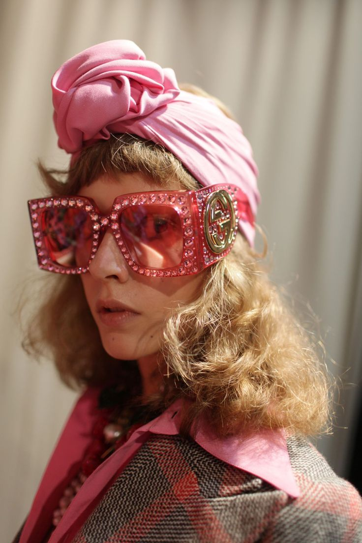 Gucci Retro Funky Pink 70s big studded sunglasses  Hair Accessories