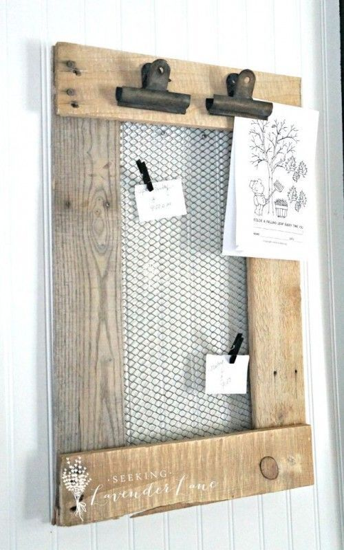 rustic farmhouse pallet wood and chicken wire message board Seeking Lavender…