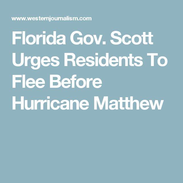 Florida Gov. Scott Urges Residents To Flee Before Hurricane Matthew