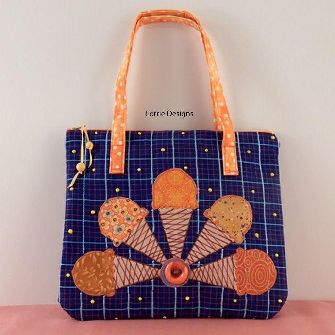 Kids Ice Cream Tote Bag in Blue, Orange, Zipper Close by LorrieDesigns, $32.00 USD