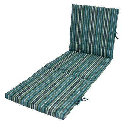 Threshold outdoor chaise lounge cushion blue stripe for Blue and white striped chaise lounge cushions