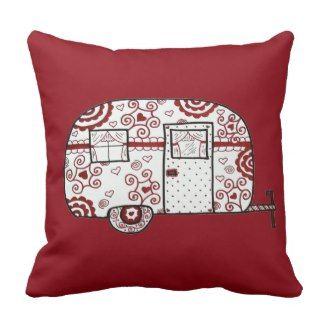 Retro Red Black and White Glamper Throw Pillow | Red Throw Pillows | Pretty Throw Pillows