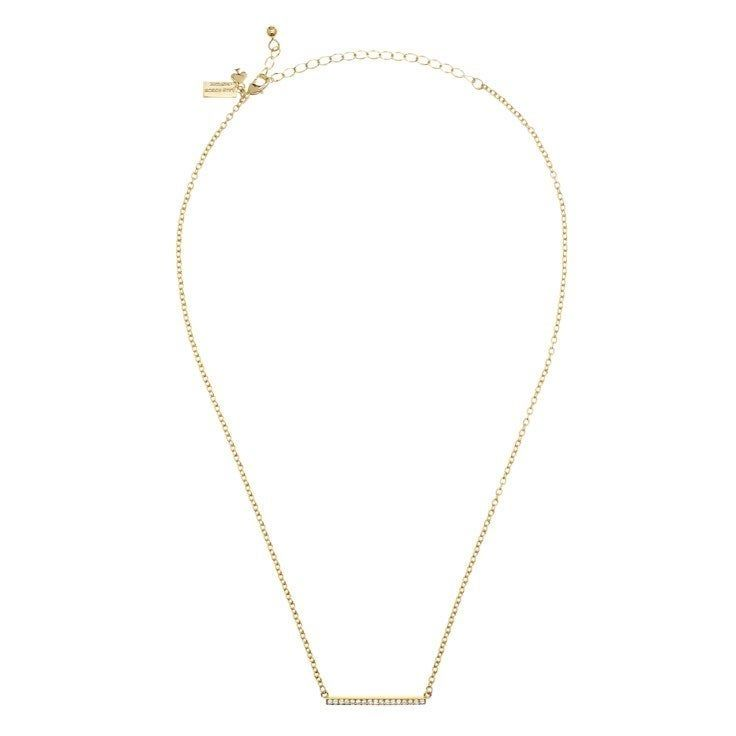 Shiny 12 Karat Gold Plated Metal With Cubic Zirconia Features Lobster Claw Closure Details Total Chain Length 17 3 Bar Pendant Pendant Kate Spade Necklace