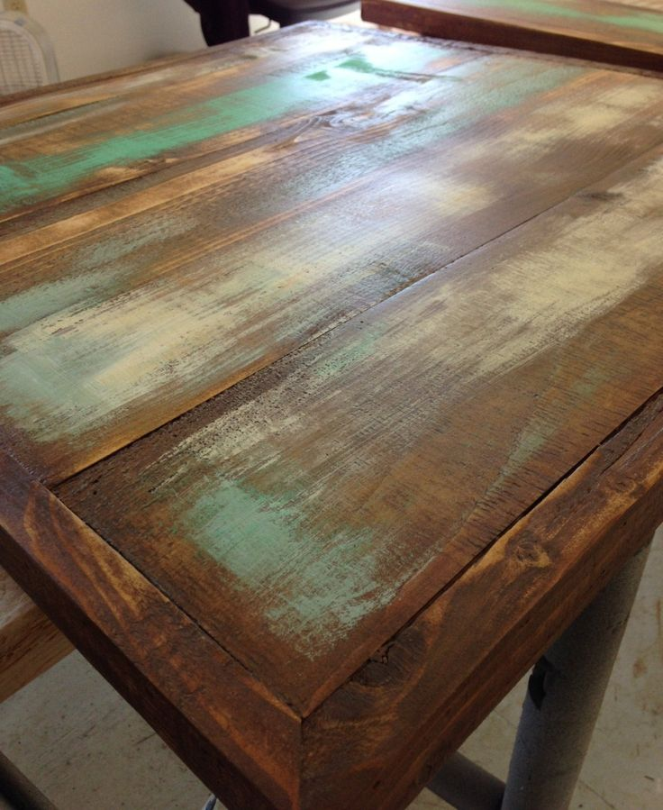 Florida restaurant table tops ,Wood table tops, salvaged planks, restaurant dining tops, painted teal Aqua turquoise distressed finish by FreshRestorations on Etsy https://www.etsy.com/listing/229162350/florida-restaurant-table-tops-wood-table
