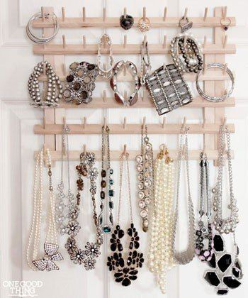 thread rack jewelry organization tips: Lucky Magazine 75 Creative Ways To Organize Your Jewelry : Lucky Magazine. I really need to this. My jewelry is all over the place. Whats the sense of having a lot if its not organized. Thanks Lucky.