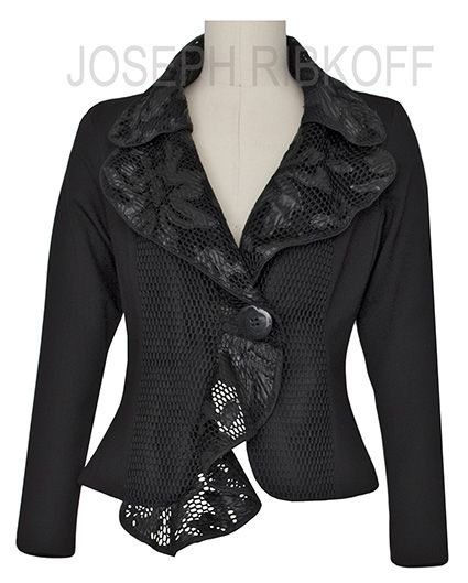 Joseph Ribkoff Jacket. Crop jacket with lace trim. #springracing #races #autumn #winter #horseraces