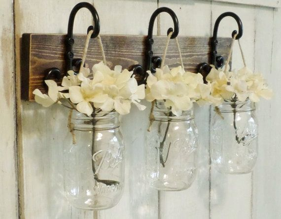 New....Rustic Wood Shelf...Farmhouse Wall Decor...3 Hanging Mason jars on Stained Board..Candle Lantern..Made to order