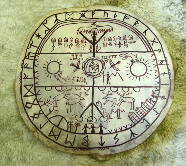 Seidr - The Ancestral Shamanic Path of Northern Europe  The front of my drum showing the nine worlds and many of the different wights and being that dwell in them, surrounded by the Northumbrian Futhork. Ive had this drum for many years now, the frame is ash and the skin is stag from Scotland.