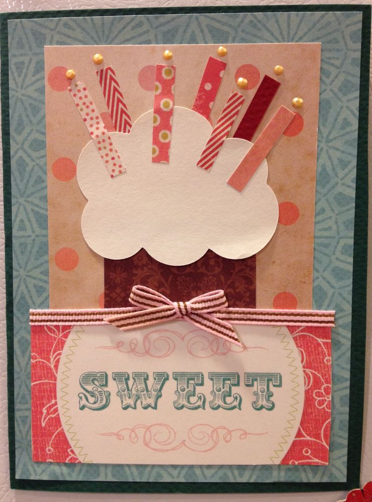 Sweet cupcake birthday card by Stacia Leigh, author, illustrator, cupcake card maker.