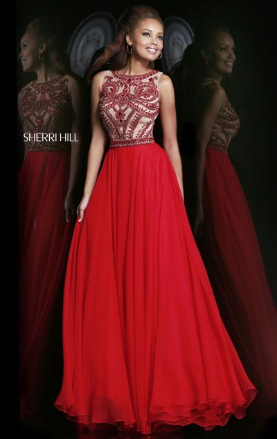 2015 Beaded Embellished Scoop-Neck Red Long Prom Dress [Sherri Hill 11146 Red] - $188.00 : Prom Dresses 2015,Lastest Fashion Dress At promdressescustom.com