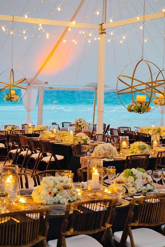 beach decor ideas centerpieces candles hanging flowers wedding ideas