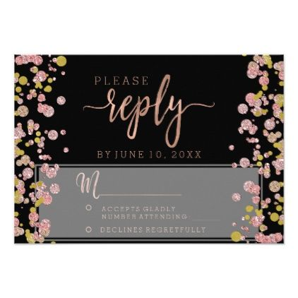 #wedding #responsecards - #Confetti Sparkle Rose Gold Wedding Reply RSVP Card