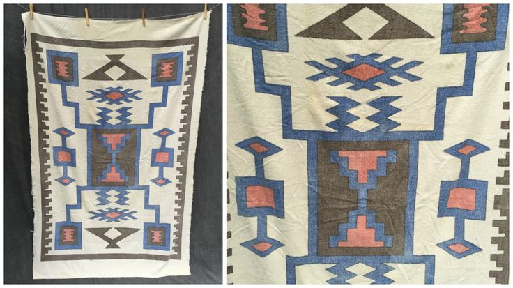 Vintage 70's Southwestern Tribal Art Beach Towel - Extra Large Size by ElkHugsVintage on Etsy