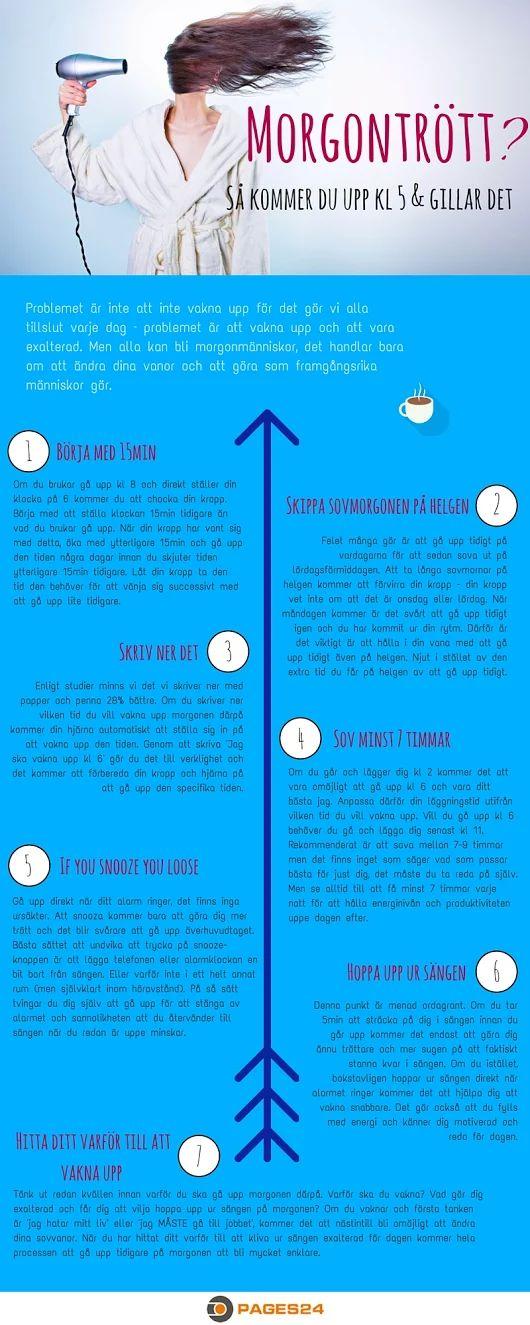 Hur kan du bli morgonmänniska?  #morgontrött #infografik