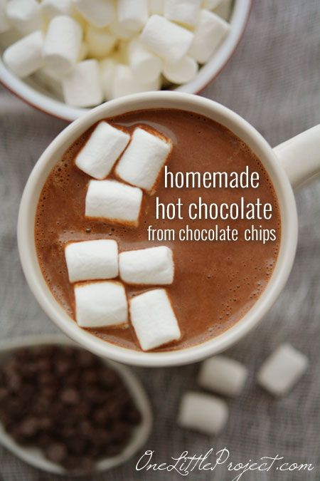 Homemade Hot Chocolate. Only 3 ingredients. Use chocolate chips instead of mixing powders together.  Delicious!