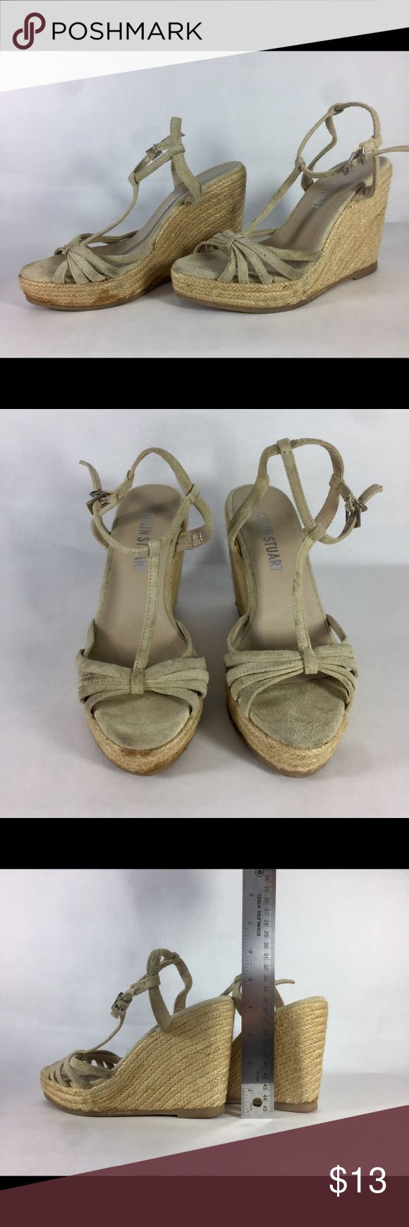 Colin Stuart Espadrille T-Strap Sandal 💃 Colin Stuart espadrille t-strap sandal 💃 Neutral tan, goes with everything. Sandal is used and stained 🥀 I can provide more images 📸 upon request. However, with a little soap 🛁and water 💦 I think you can bring them back to life 🌹 Check out how to clean espadrilles here: https://www.leaf.tv/articles/how-to-clean-espadrilles/ Colin Stuart Shoes Espadrilles