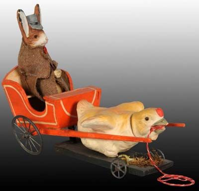 Candy Containers Price Guide: Chick Pulling Rabbit in Cart Candy Container