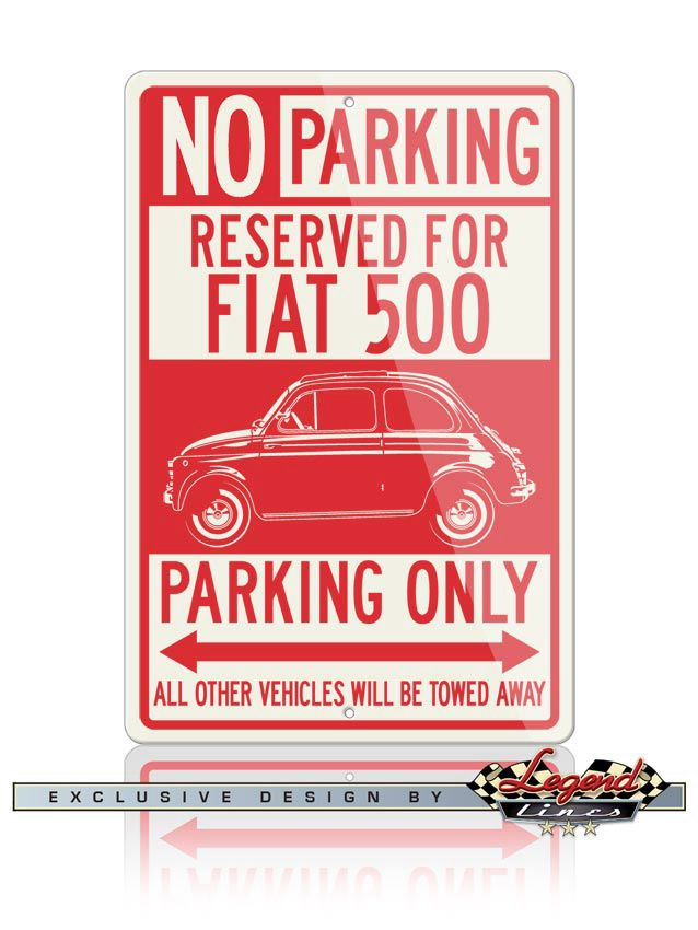 Your Fiat 500 deserves a reserved parking spot in your garage! Just like the real street signs, our signs are quality made of Aluminum that will not rust, crack or break and are UV protected for outdoor use and durability. Ideal for home, garage, office, workshop, Man cave, private roadways or anywhere you fill you deserve a special parking or deco spot, and they make the ideal gift for any car enthusiast.