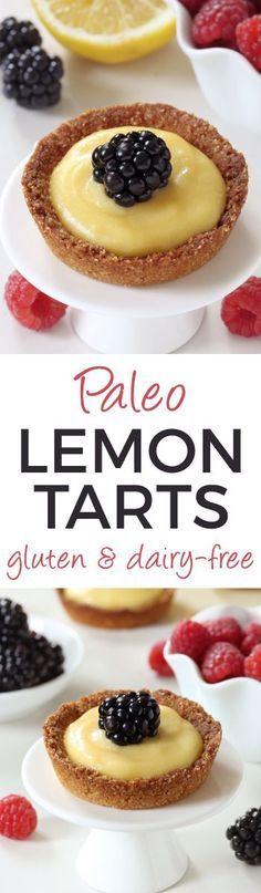 Honey-sweetened Paleo Mini Lemon Tarts (grain-free, gluten-free, dairy-free)