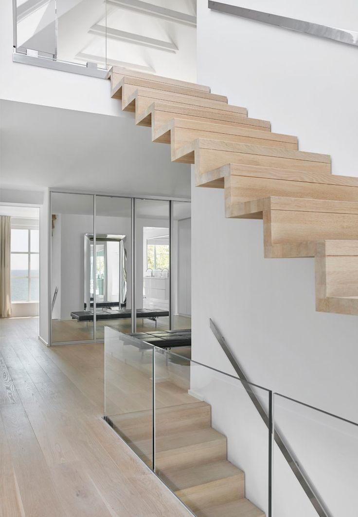 Modern and minimalistic staircase in bright wood and glass.