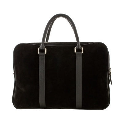 Suede-leather briefcase, in various colors