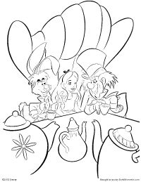 alice having tea with the mad hatter and the march hare coloring page https