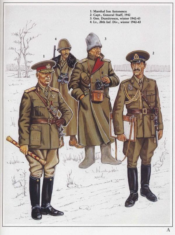 WWII Romanian Army officers and generals' field uniforms.