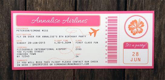 Luau Boarding Pass Invitations | Luau invitations ...