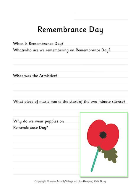 Remembrance Day worksheet