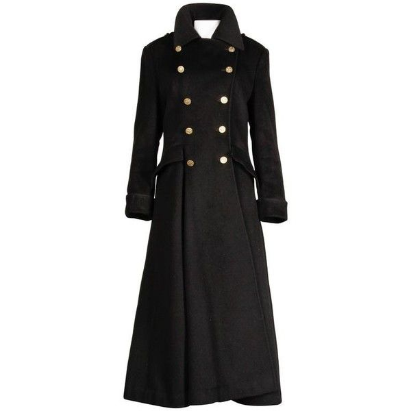 Preowned Bill Blass Vintage Black Wool Military Maxi Coat ($425) ❤ liked on Polyvore featuring outerwear, coats, black, military jackets, vintage military coat, maxi coats, wool field jacket, field jacket and wool coat