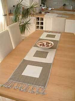 Olive and Ecru White  Designer Table Runner 40 x 175 cm RRP £30