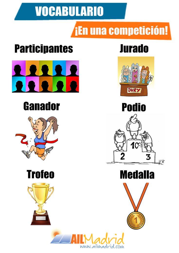 "Un poco de #vocabulario de #competición, pero no olvidemos que ""¡lo importante es participar!"" ;) --- Some #competition #vocabulary, but don't forget that ""It's the taking part that counts!"" ;)"