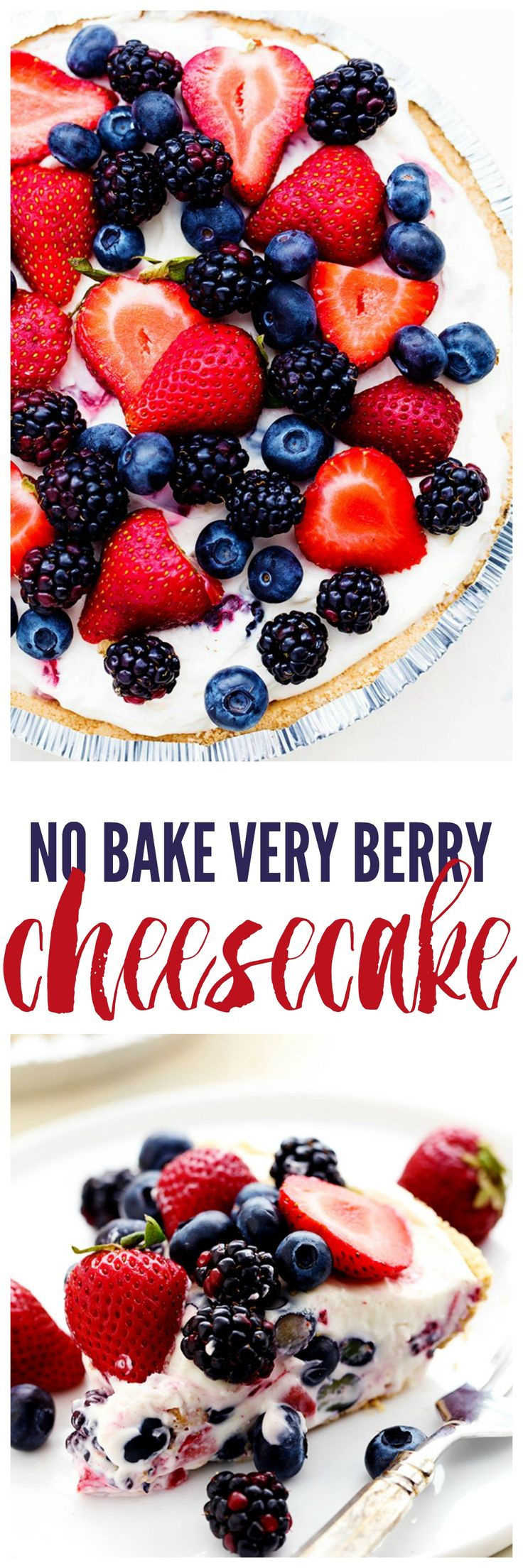 No Bake Very Berry Cheesecake comes together in just 10 minutes! It is filled with fresh summer berries hidden inside a creamy cheesecake and is incredible!