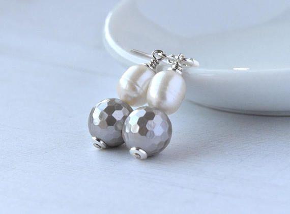 Pearl Earrings  Grey Shell Pearl  Sterling Silver  Dangle #Jewellery  #Earrings  #Pearls #PearlEarrings  #SterlingSilver #Bridal  #Wedding